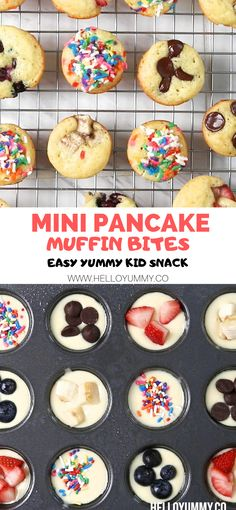 These mini pancake muffins make an easy healthy snack for kids or breakfast. Use your favorite toppings. Great for a lunchbox treat too! #helloyummy