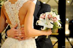Wedding couple bouquet dress