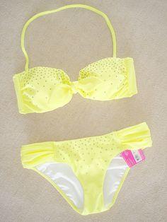 cailey_macek's save of New Victoria's Secret Rhinestone Embellished Bandeau Bikini Swimsuit S XS on Wanelo