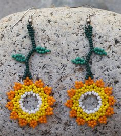 Handmade Sunflower Beaded Earrings