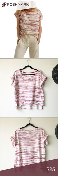 """Lou & grey striped cotton sweater Short sleeves cotton sweater. Really comfy and cute!! Bust:23.5"""" length:21"""" back length:24"""" approx. please feel free to ask me any questions!! Offers welcome! Lou & Grey Sweaters"""
