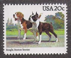 Dog Art Full Body Study Portrait Postage Stamp BOSTON TERRIER BEAGLE USA MNH