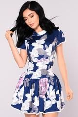 Available In Navy Mock Neck Floral Dress Open Lace-Up Back Self: 100% Polyester Lining: 100% Polyester