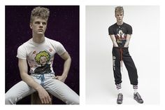 Benjamin embraces a sporty attitude in vintage joggers.