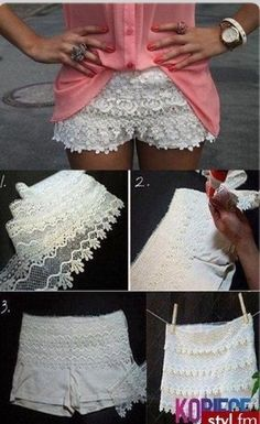 DIY: lace shorts, get lace at any crafting store