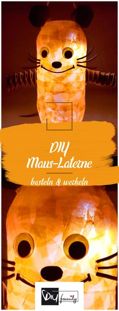 Die Maus-Laterne basteln in 4 einfachen Schritten - DIY-Family We thought about what you can do with Easy Fall Crafts, Fall Crafts For Kids, Diy For Kids, Upcycled Crafts, Diy Crafts To Sell, Handmade Crafts, Diy Bracelets To Sell, Halloween Crafts, Christmas Crafts