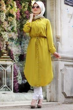 Hilal Baş Oksit Sarısı Relax Tunik