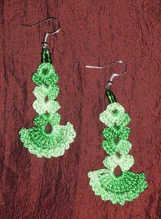 Boucles d'oreille au crochet + perles  - boucle d oreille percée - JaneJulieCreations - Fait Maison