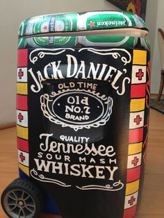 Painted Cooler: looks like the Heineken cans are modge-podged on-good idea