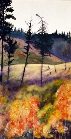 This piece reminds me of the summers I spent working at camps.  I worked in beautiful landscapes reminiscent of this work - and the pop of purple makes very lovely! Art By: Mary Gibb  | Grandin Road Color Crush on Purple Thistle