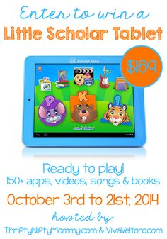 Little Scholar Tablet Giveaway! This is THE best tablet for kids age 3-7!  it comes preloaded with over 150+ apps, videos, songs, and books!