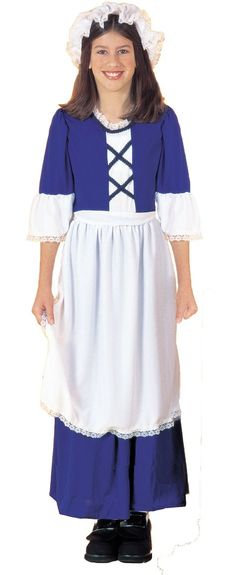 Girls Blue Colonial Girl Costume - Party City