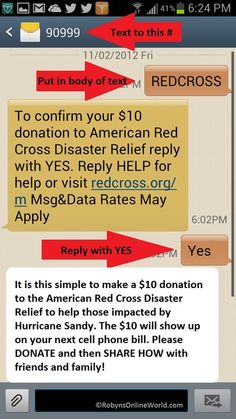 Send a text to 90999 with the word REDCROSS to make a donation of 10$ to the American Red Cross Disaster Relief to help those impacted by Hurricane Sandy