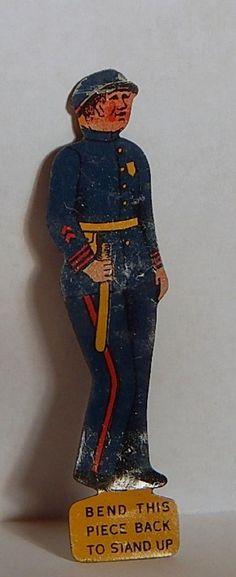 VINTAGE 1910-20 CRACKER JACK POLICEMAN MARINE BLUE UNIFORM STAND-UP PRIZE #CRACKERJACK