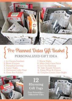 How you can design a gift basket of pre-planned dates for couples perfect for weddings, anniversaries, Christmas.