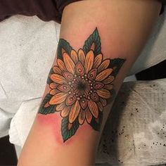 Sunflower mandala, thanks Ruth!  #sunflower #mandala #tattoo #queenwest #toronto #newtribe #newtribetattoos