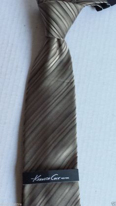"Kenneth Cole men #silk dress brown with stripes neck tie (59"" long , 3.5"" wide) KennethCole visit our ebay store at  http://stores.ebay.com/esquirestore"