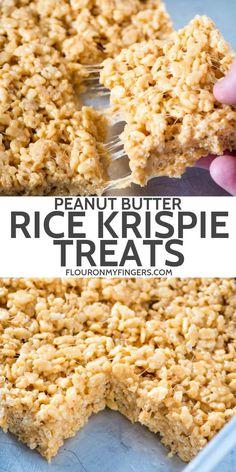 How to make the best no bake peanut butter Rice Krispie treats They re soft and chewy gooey with marshmallows and such an easy recipe to make with kids flouronmyfingers RiceKrispietreats peanutbutter easyrecipes dessertrecipes Köstliche Desserts, Delicious Desserts, Dessert Recipes, Breakfast Recipes, Peanut Butter Rice Crispies, Peanut Butter Popcorn, Reis Krispies, Rice Krispy Treats Recipe, Healthy Rice Krispie Treats