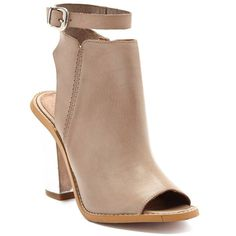 SixtySeven Layla Peep Toe Bootie ($93) ❤ liked on Polyvore featuring shoes, boots, ankle booties, taupe, ankle boots, chukka boots, taupe booties, peep toe booties and high heel boots