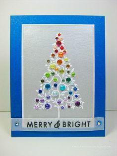 Rainbow Bejeweled Christmas Tree card