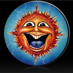 Sunface with blue background from Dubois Studios spare tire cover. Custom made to fit your spare tire. Just provide the spare tire size when ordering. Custom Tire Covers, Spare Tire Covers, Wall Mount Bike Rack, Jeep Tire Cover, Boat Seats, Mandala, Cool Inventions, Bike Art, Sign Printing