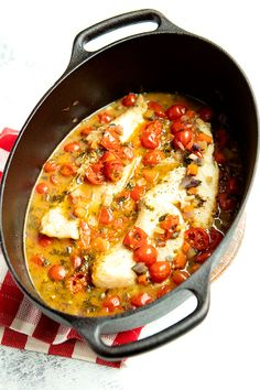 Acqua Pazza - whitefish fillets in a flavorful vegetable based broth Fish Recipes, Seafood Recipes, Gourmet Recipes, Appetizer Recipes, Cooking Recipes, Healthy Recipes, Cooking Time, Healthy Food, Healthy Eating
