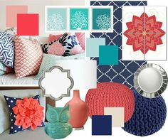 Coral decor is quite well known in beach homes and you can discover a wide variety of merchandise for sale. Beach coral decor shouldn't be hard to find so it's possible to add a dash of color and coastal style… Continue Reading → Coral Bedroom Decor, Bedroom Colors, Navy Coral Bedroom, Coral Home Decor, Navy And Coral Bedding, Navy Bedrooms, Girls Bedroom, Bedroom Ideas, Master Bedroom