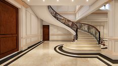 SPIRAL STAIR CASE DSEIGN OF INTERIOR LOBBY OF LUXURY HO on Behance Stairs Floor Plan, Flooring For Stairs, Floor Plans, Stairs In Living Room, Living Room Interior, Living Rooms, Craftsman Bungalow Exterior, Exterior House Colors Combinations, 3d Max Vray