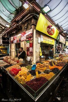 Mahane Yehuda Market is where you go for sweets and dried fruits in Jerusalem.