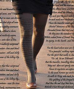 Edgar Allan Poe- Literature Clothing -POETRY -Printed Tights -DREAM  LAND-Gray, Café - Latte  ,Mustard,Blue