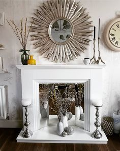 Great Pics Faux Fireplace mirror Style I enjoy a superb faux fireplace , permits always be serious I'd personally LOVE a fire during my b Faux Fireplace Insert, Distressed Fireplace, Faux Fireplace Mantels, Candles In Fireplace, Fireplace Design, Fireplaces, Fireplace Inserts, Fireplace Modern, Fireplace Mirror