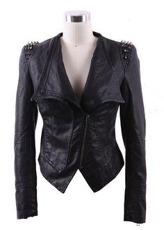Rocker chic glam Black Wide Lapel Rivet Shoulder Leather Biker Jacket - Sheinside.com