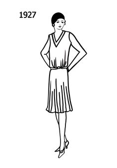 Costume History Silhouettes 1926-1927 Free Line Drawings