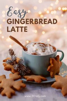 5 minutes · Vegetarian · Serves 8 · This Gingerbread Latte is for all of you who love holiday coffee, this will bring your favorite coffee shop... home. Easy to make, and perfect for the Christmas holidays. Gingerbread Cookies, Tea Recipes, Holiday Recipes, Christmas Recipes, Chai Tea Recipe, Vanilla Whipped Cream, Cinnamon Coffee, Non Alcoholic Drinks