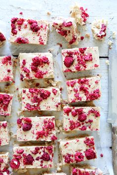 raw white chocolate with almonds and raspberries.