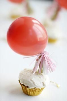Mini jumbo balloon cupcake toppers
