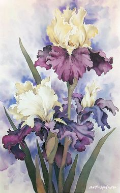 Yarmin Basil. Batik.  watercolor floral art irises