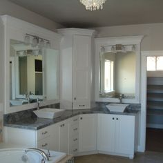 Superieur White Bathroom, Double Sinks, Double Vanity, Corner Vanity, White Cabinets,  Gray