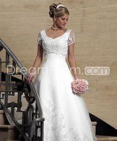 [$198.49] Pretty Princess V-neck Short-Sleeve Floor-length Chapel Vintage Wedding Dresses