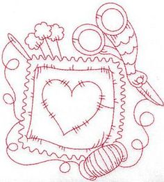 Pillow with heart redwork large (AIQR106L) Embroidery Design by Adorable Ideas