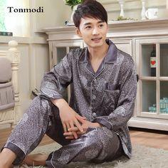 Autumn Silk Satin Sleepwear Luxury Pajamas for Men Pyjamas Cardigans Men's Sleep Lounge Silk Pajama Sets 3XL
