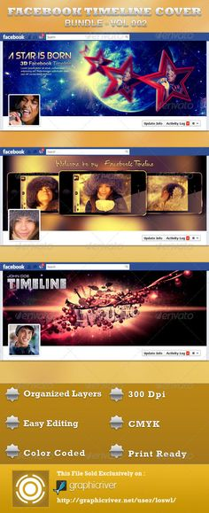 The Facebook Timeline Cover Bundle is great for any Facebook page that is updated to the new Timeline feature. You can express yourself on your Facebook page with this beautiful banner image, just edit the text, choose a color with the one-click color options and you are ready to upload to your profile. In this package you'll find Three Photoshop files, all layers are arranged, color coded and simple to edit. $4.00