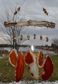 Agate geode wind chime windchime Lake Superior driftwood orange golden stone  suncatcher mobile wind chime sun catcher by wedoart on Etsy
