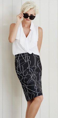 paula ryan scribble print bonded microjerseyskirt