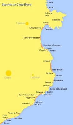 Beaches on the Costa Brava location map for the main bays and beaches Costa, Barcelona Spain Travel, Beach List, Location Map, Travel Goals, Beautiful World, Places To Go, Surfing, Road Trip