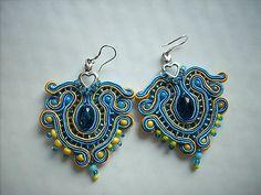 azure yellow soutache earrings with small heart