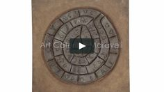 Video : The Phaistos Disk-Creation of mixed media painting technique. Dimension  100×100.--Caterina Maraveli .  The story:  The Phaistos disc (a clay disc 16cm in diameter), the earliest typewritten work, is an archaeological find from the Minoan city of Phaistos in Southern Crete probably dating to the 17th century B.C. It is one of the most famous mysteries of archaeology since its purpose and meaning remain disputed.(Music:  Today – Stamatis Spanoudakis)