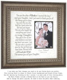 Wedding Gift for In Laws Mother of the Bride Gift from Groom Mother of the Groom Gift from Bride Mother of the Bride Gifts by photoframeoriginals. Explore more products on photoframeorigina. Mother Of The Groom Gifts, Bride And Groom Gifts, Mother And Father, Mother Gifts, Thank You Gift For Parents, Wedding Gifts For Parents, Wedding Thank You Gifts, Wedding Trends, Wedding Venues