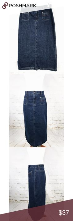 DKNY Woman's Size 4 Maxi Jeans Skirt See pictures for material and measurements.  No rips, tears or stains. Dkny Skirts Maxi