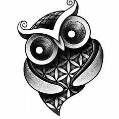 Gorgeous. .Credit : @digitalartbyhuman -  Owl of Life. Original design. Go fallow my tattoo account!!!! -----> @tattoosbyhuman -----> @tattoosbyhuman  #owl #owls #owllove